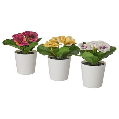 FEJKA フェイカ 人工観葉植物 鉢カバー付き, 室内/屋外用 パンジー, 6 cm