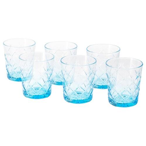 フリムラ グラス 模様入り/ブルー 9.9 cm 28 cl 6 ピース