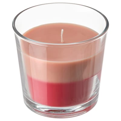 FORTGÅ フォルトゴー 香り付きキャンドル グラス入り, フレッシュストロベリー/ピンクレッド, 9 cm