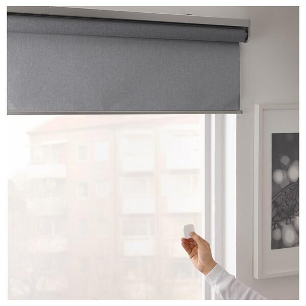 FYRTUR フィルトゥール 遮光ローラーブラインド, ワイヤレス/電池式 グレー, 80x195 cm