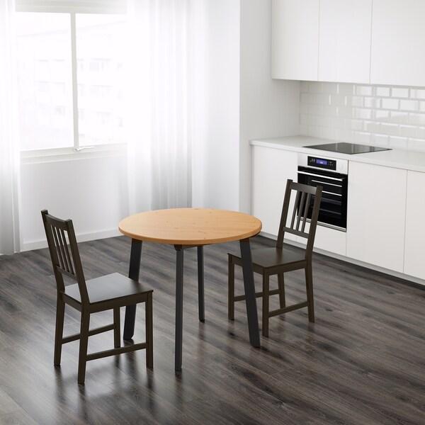 GAMLARED ガムラレード テーブル, ライトアンティークステイン/ブラックステイン, 85 cm