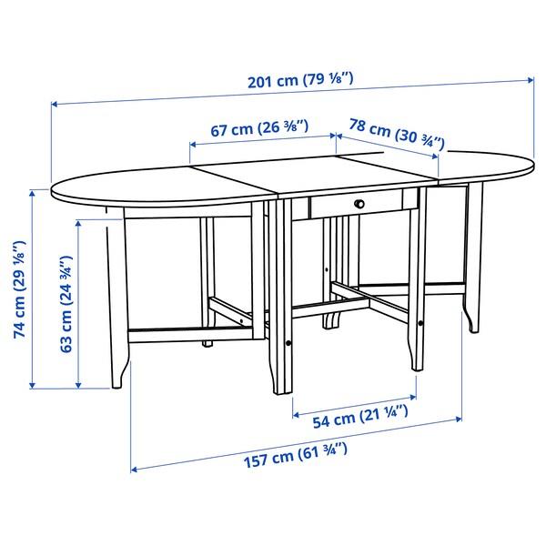 GAMLEBY ガムレビー ゲートレッグテーブル, ライトアンティークステイン/グレー, 67/134/201x78 cm