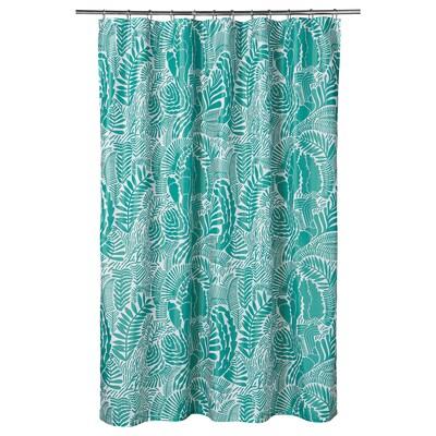 GATKAMOMILL ガトカモミル シャワーカーテン, ターコイズ/ホワイト, 180x200 cm