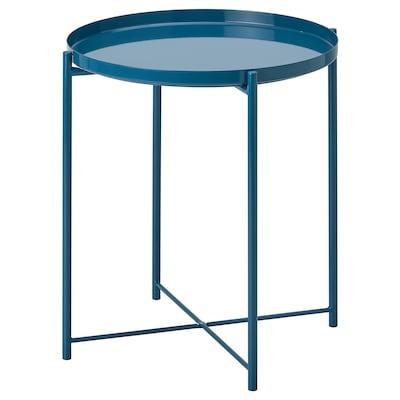 GLADOM グラドム トレイテーブル, ハイグロス ダークブルー, 45x53 cm