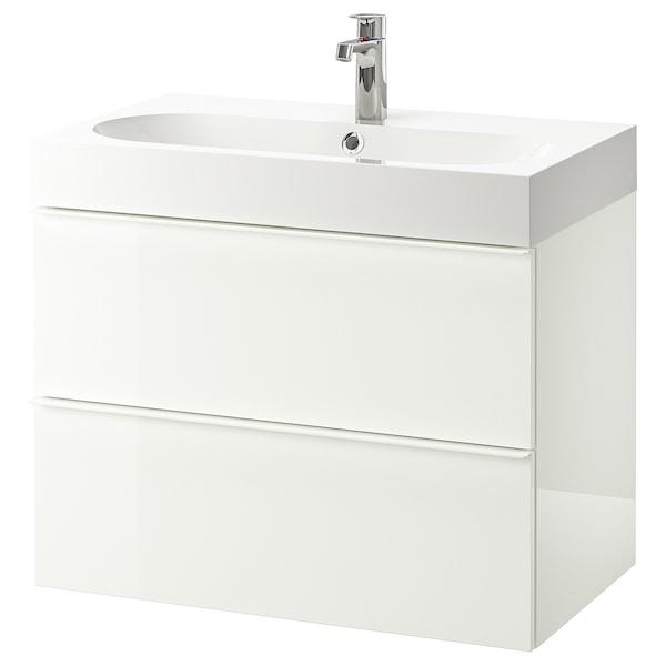 GODMORGON グモロン / BRÅVIKEN ブローヴィーケン 洗面台(引き出し×2), ハイグロス ホワイト/Brogrund/ブログルンド 水栓, 80x48x68 cm