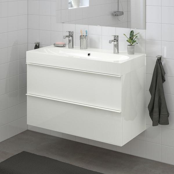 GODMORGON グモロン / BRÅVIKEN ブローヴィーケン 洗面台(引き出し×2), ハイグロス ホワイト/Brogrund/ブログルンド 水栓, 100x48x68 cm