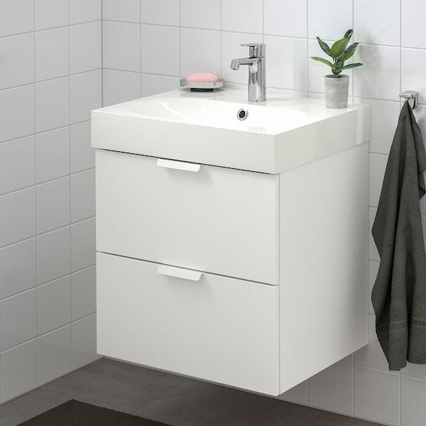 GODMORGON グモロン / BRÅVIKEN ブローヴィーケン 洗面台(引き出し×2), ホワイト/Brogrund/ブログルンド 水栓, 61x49x68 cm