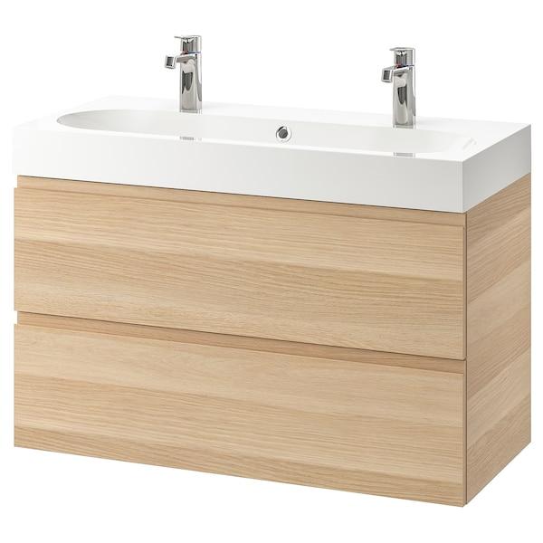 GODMORGON グモロン / BRÅVIKEN ブローヴィーケン 洗面台(引き出し×2), ホワイトステインオーク調/Brogrund/ブログルンド 水栓, 100x48x68 cm
