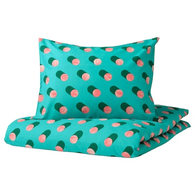 GRACIÖS グラシオース 掛け布団カバー&枕カバー, 水玉模様/ピンク ターコイズ, 150x200/50x60 cm