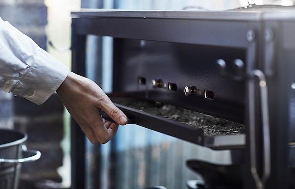 GRILLSKÄR グリルシェール アウトドア用キッチン シンクユニット/チャコールバーベキュー付き, ステンレススチール, 258x61 cm