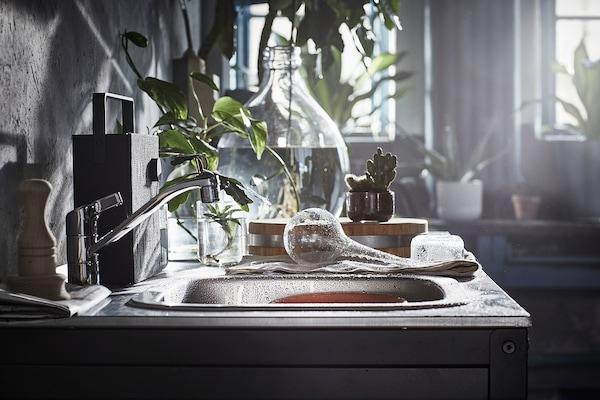 GRILLSKÄR グリルシェール シンクユニット, ブラック/ステンレススチール 屋外用, 86x61 cm