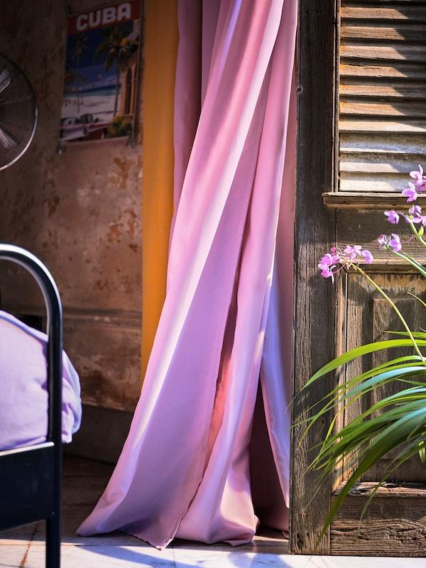 GUNRID グンリード 空気清浄カーテン 1組, ライトピンク, 145x250 cm