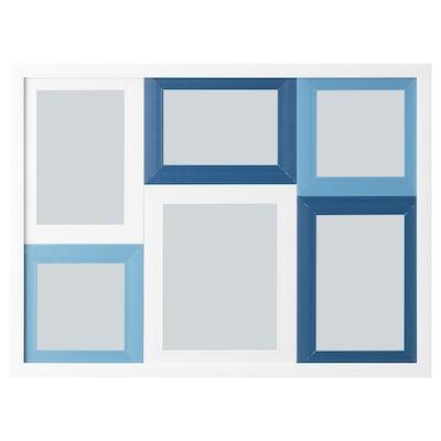 HÄGGNÄS ヘッグネス コラージュ用フレーム 写真6枚用, ホワイト/ブルー