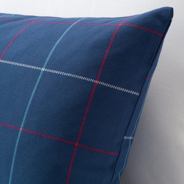 HÄSSLEBRODD ヘッスレブロッド クッション, ブルー/マルチカラー チェック, 40x65 cm