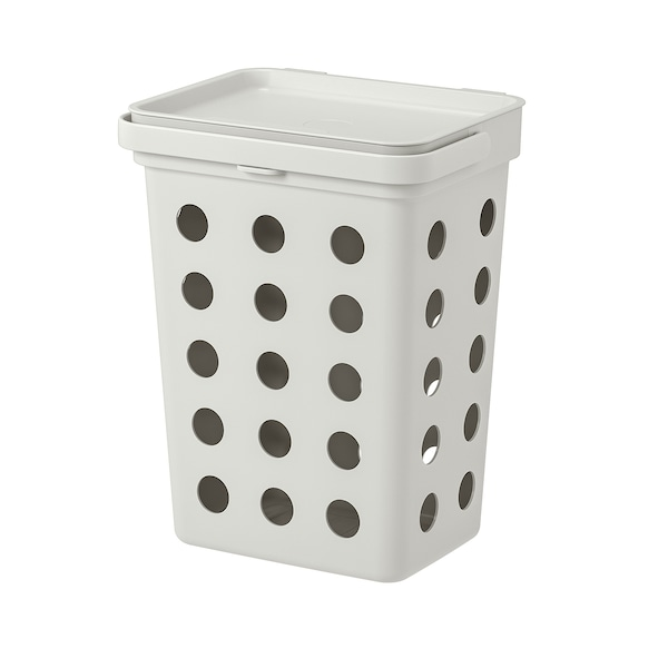 HÅLLBAR ホルバル 生ゴミ用ふた付きゴミ箱, ライトグレー, 10 l