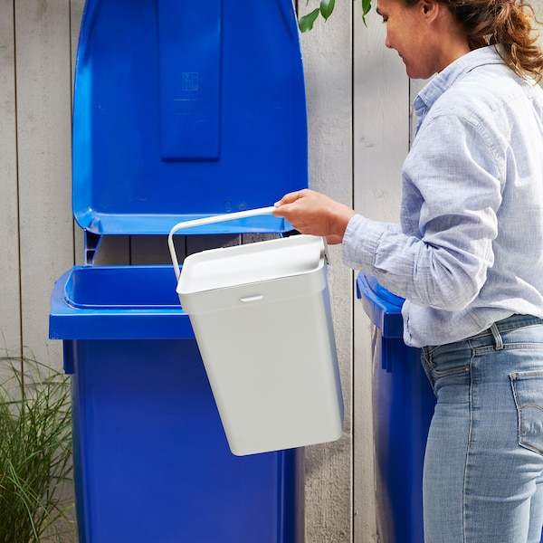 HÅLLBAR ホルバル ふた付きゴミ箱, ライトグレー, 22 l