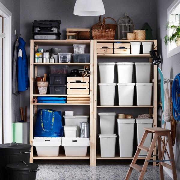 HÅLLBAR ホルバル ふた付きゴミ箱, ライトグレー, 3 l