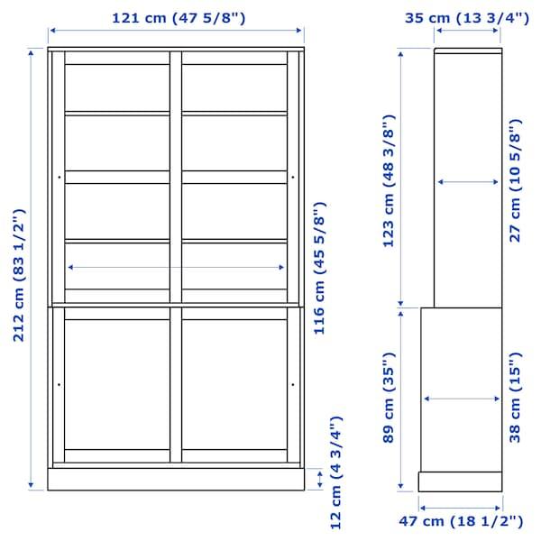HAVSTA ハーヴスタ 収納コンビネーション ガラス引き戸付き, ホワイト, 121x47x212 cm