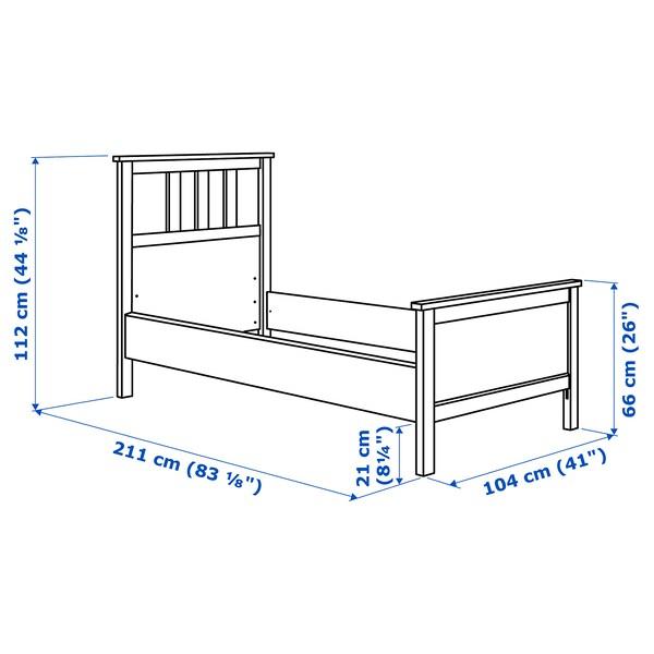 HEMNES ヘムネス ベッドフレーム, ブラックブラウン/ロンセット, 90x200 cm