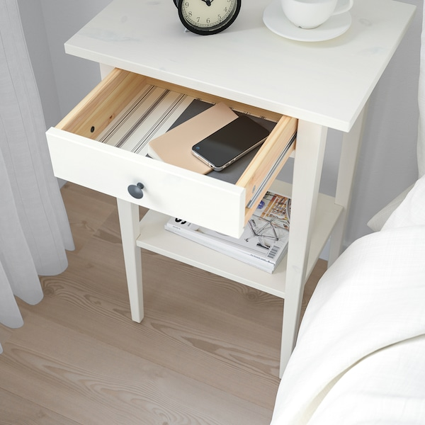 HEMNES ヘムネス ベッドサイドテーブル, ホワイトステイン, 46x35 cm