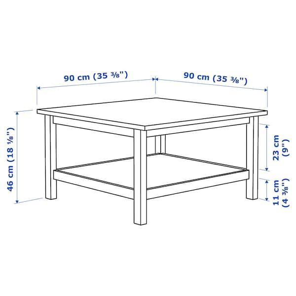 HEMNES ヘムネス コーヒーテーブル, ホワイトステイン/ライトブラウン, 90x90 cm