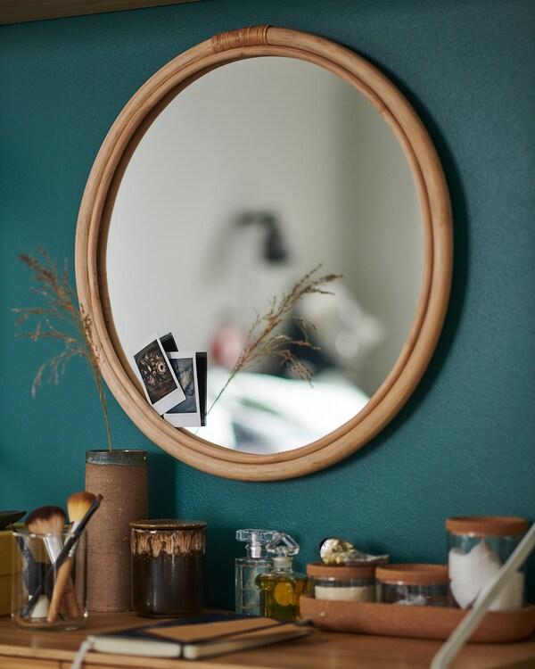 HINDÅS ヒンドース ミラー, 籐, 50 cm
