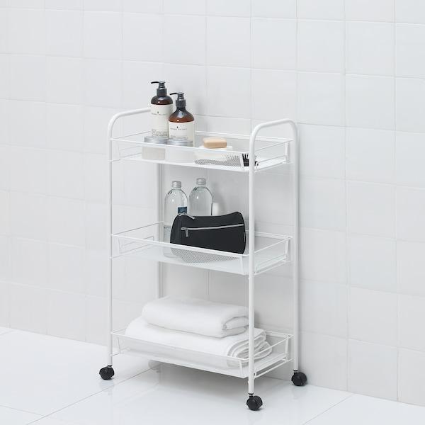 HORNAVAN ホールナヴァン ワゴン, ホワイト, 26x48x77 cm