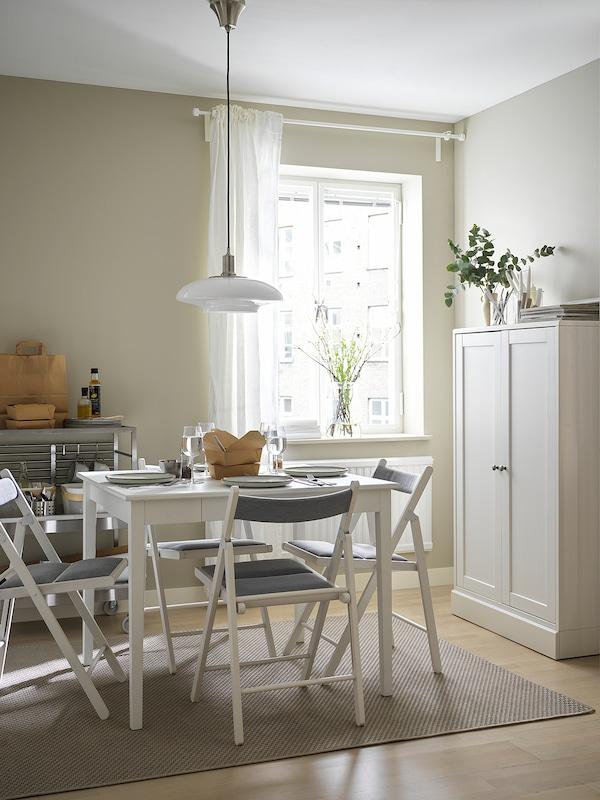 IDANÄS イダネス ドロップリーフテーブル, ホワイト, 51/86x96 cm