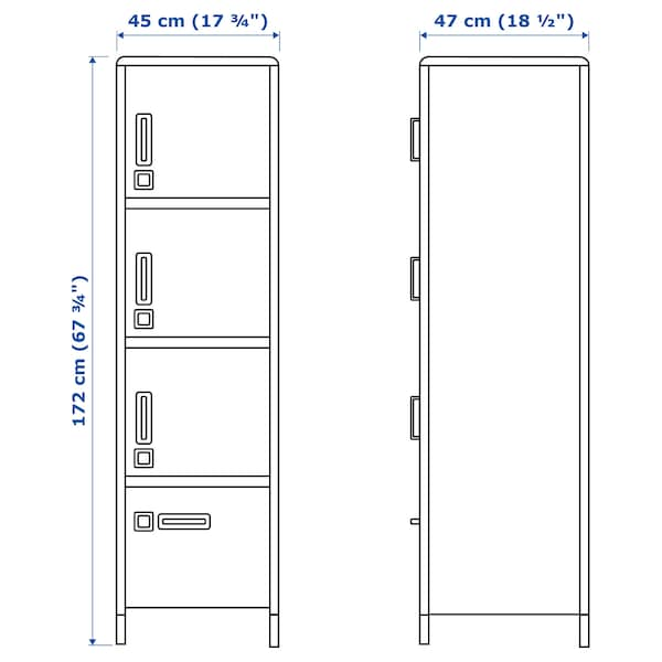 IDÅSEN イドーセン ハイキャビネット 引き出し&扉付き, ブルー, 45x172 cm
