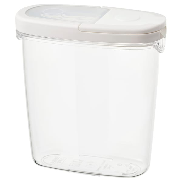 IKEA 365+ 乾燥食品用容器 ふた付き 透明/ホワイト 17 cm 8 cm 18 cm 1.3 l