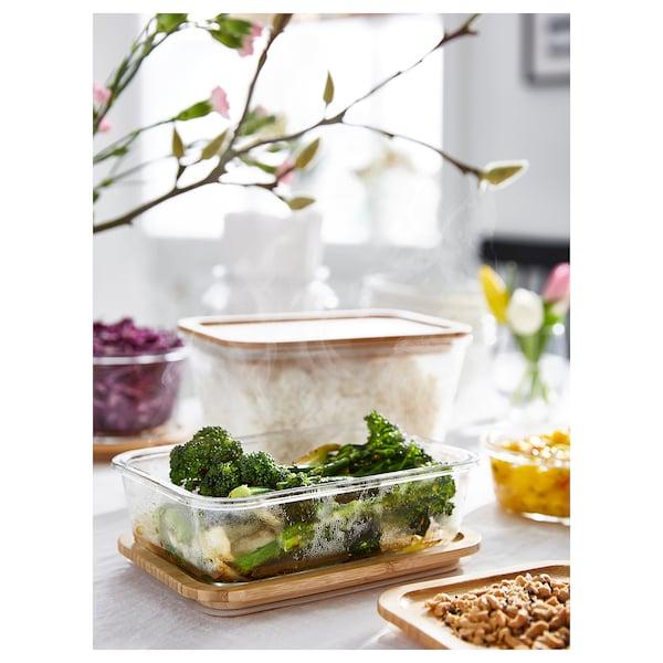 IKEA 365+ 保存容器 ふた付き 長方形 ガラス/竹 21 cm 15 cm 12 cm 1.8 l
