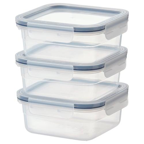 IKEA 365+ 保存容器 正方形/プラスチック 3 ピース 15 cm 15 cm 6 cm 750 ml