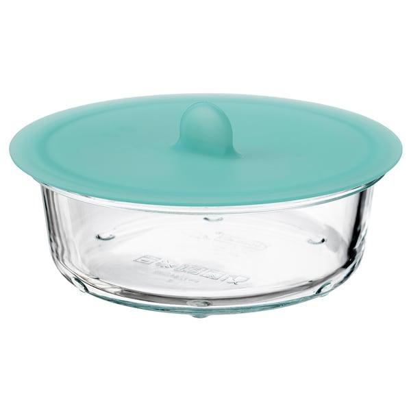 IKEA 365+ 保存容器 ふた付き, 丸形 ガラス/シリコン, 400 ml