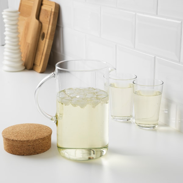 IKEA 365+ ピッチャー ふた付き, クリアガラス/コルク, 1.5 l