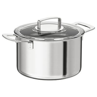 IKEA 365+ 鍋 ふた付き, ステンレススチール/ガラス, 5 l