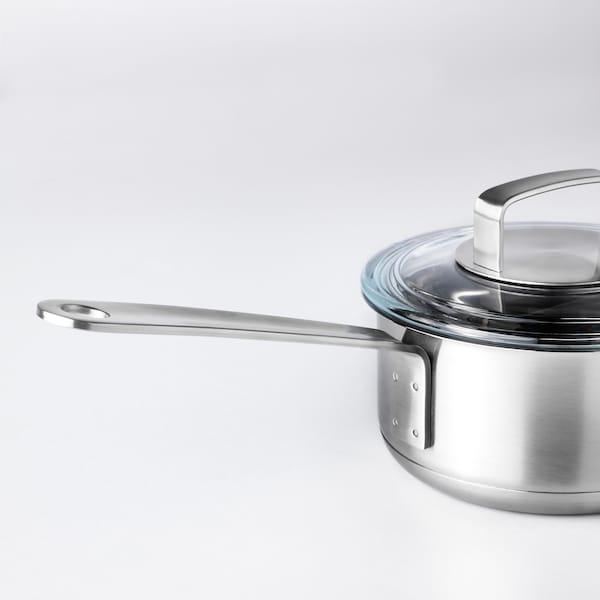 IKEA 365+ 片手鍋 ふた付き, ステンレススチール/ガラス, 1 l