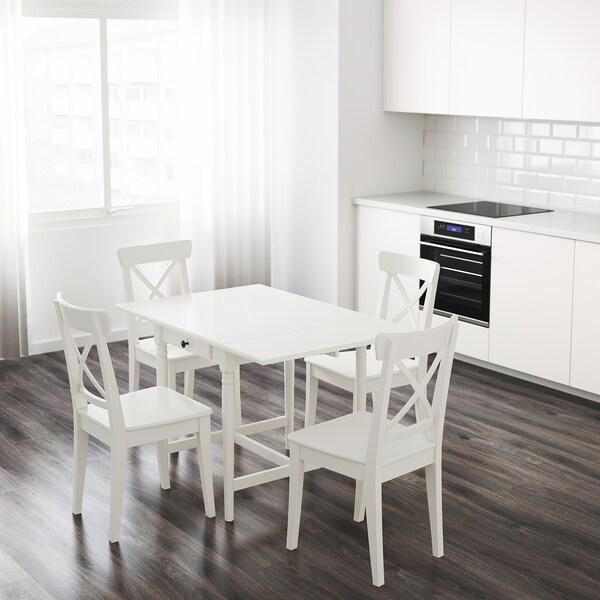 INGATORP インガートルプ ドロップリーフテーブル, ホワイト, 65/123x78 cm