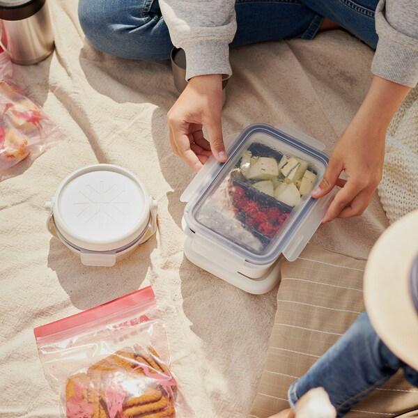 イースタード フリーザーバッグ, 模様入り/ピンク, 1 l
