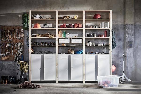 IVAR イーヴァル 3セクション/キャビネット/棚板, パイン材/ホワイト, 259x30x226 cm