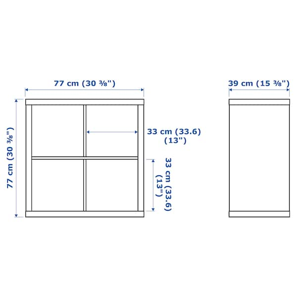 KALLAX カラックス シェルフユニット 扉付き, ホワイトステインオーク調, 77x77 cm