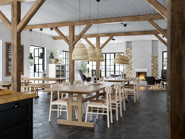 KLIMPFJÄLL クリムプフィエル ダイニングテーブル, グレーブラウン, 240x95 cm