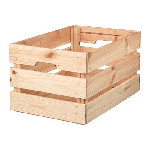KNAGGLIG クナッグリグ ボックス IKEA 頑丈なので、工具やガーデニング用品などの重いものの収納に最適 ボックスを2段重ねれば省スペースになります 出し入れや持ち運びに便利な持ち手付き 無塗装の無垢材を使用。オイルやワックスなどの仕上げ剤を施すと、耐久性が高まり、お手入れも簡単になります