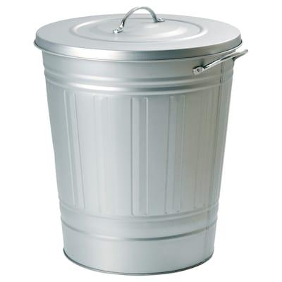 KNODD クノッド ふた付きゴミ箱, 亜鉛メッキ, 40 l