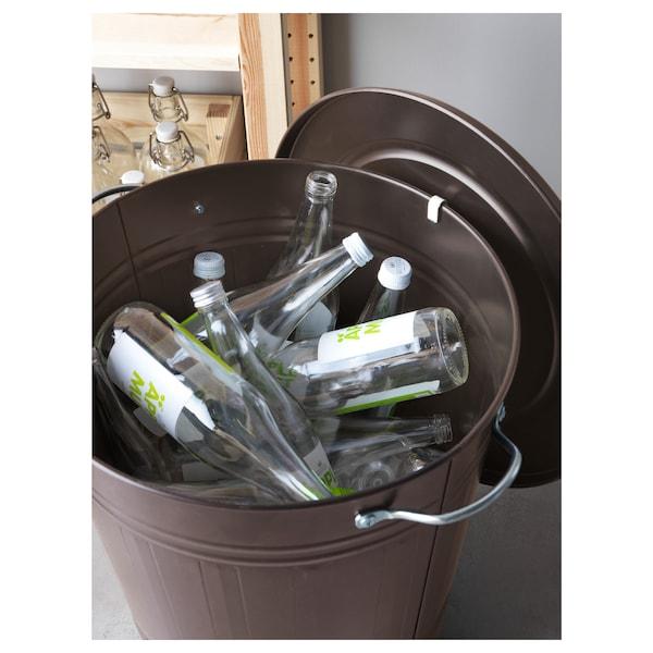 KNODD クノッド ふた付きゴミ箱, グレー, 40 l