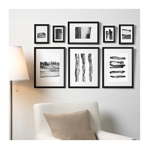 KNOPPÄNG クノッペング ポスター付きフレーム8個セット IKEA コラージュ用のテンプレートが付属しています。付属の8枚のアートは統一感があるので、そのまま飾るだけでステキなウォールコラージュが簡単にできあがります そのまま飾れます アーティスト:Hanna Dalrot