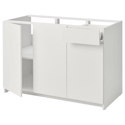 KNOXHULT クノックスフルト ベースキャビネット 扉/引き出し付き, ホワイト, 120 cm