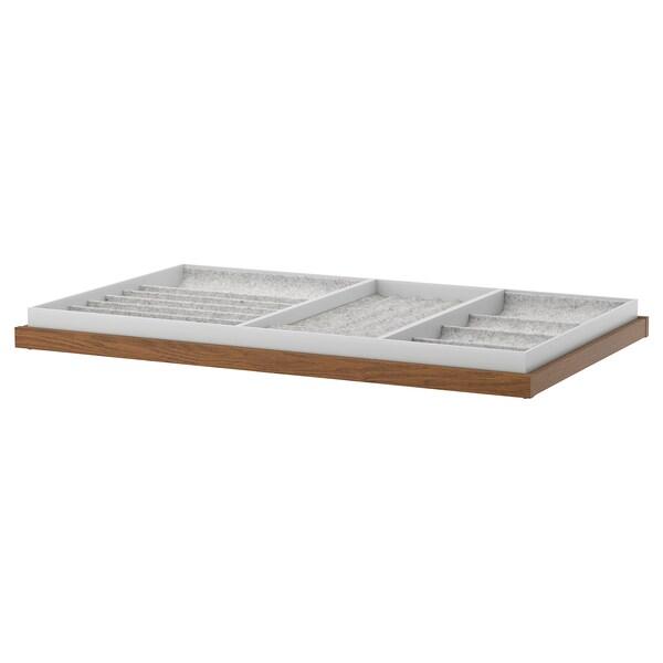 KOMPLEMENT コムプレメント 引き出し式トレイ インサート付き, ブラウンステインアッシュ調, 100x58 cm