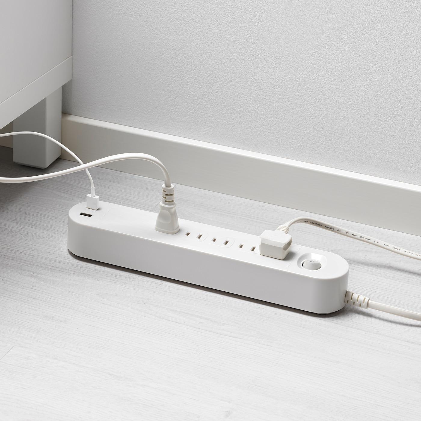 KOPPLA コップラ 電源タップ 5個口 USBポート2口付き, ホワイト, 3.0 m ...