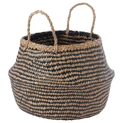 KRALLIG クラッリグ バスケット, シーグラス(水草)/ブラック, 25 cm
