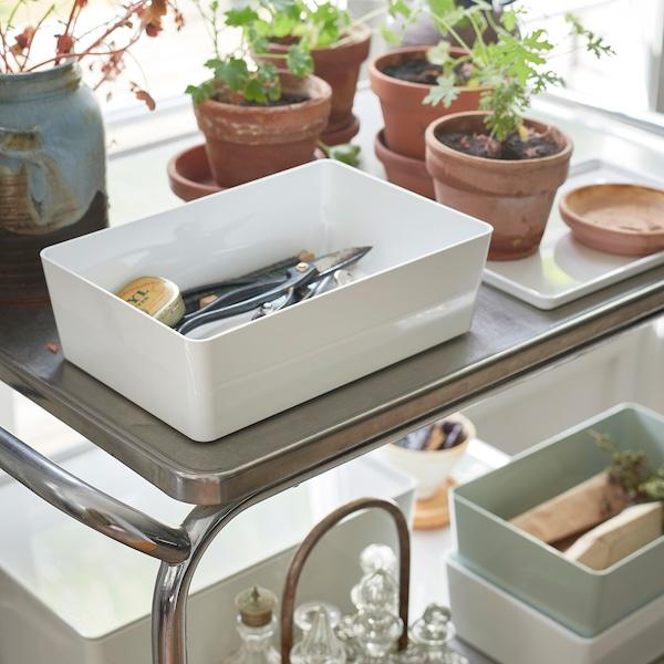 クッギス ふた付きボックス ホワイト 18 cm 26 cm 8 cm